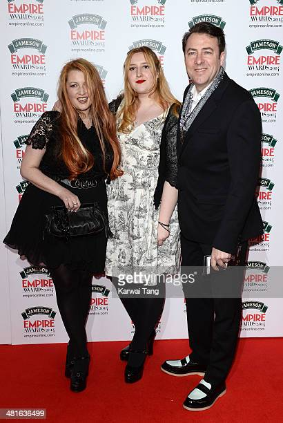 Jane Goldman, Honey Kinney Ross and Jonathan Ross attend the Jameson Empire Film Awards at Grosvenor House on March 30, 2014 in London, England.