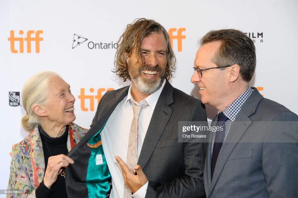 Jane Goodal, Director Brett Morgen and Producer Bryan Burk arrive at Winter Garden Theatre on September 10, 2017 in Toronto, Canada.