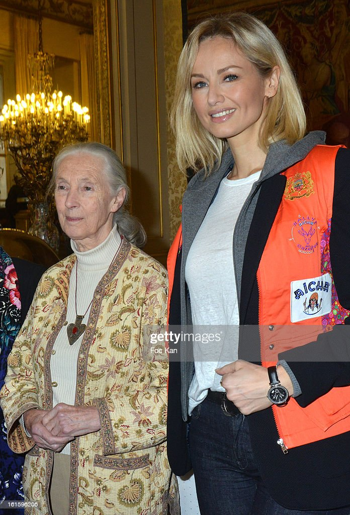 Jane Goodall and Adriana Karembeu attend the Rallye Aicha des Gazelles du Maroc' 2013 - Press Conference at Palais du Luxembourg on February 12, 2013 in Paris, France.