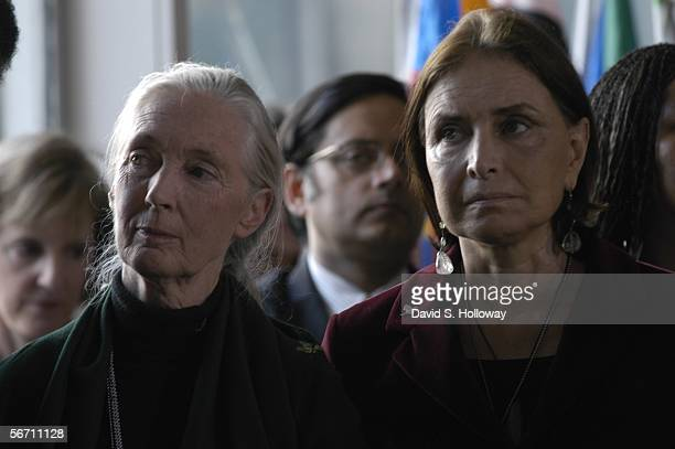 Jane Goodall and Anna Cataldi attend the United Nations Day Of Peace September 19 2003 in New York City