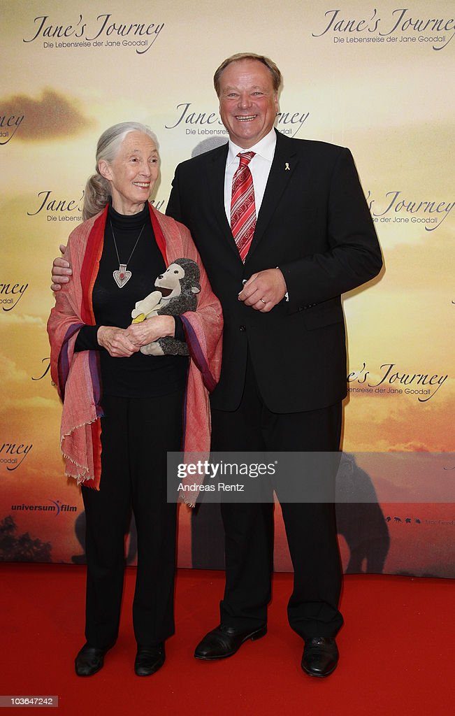 Jane Goodall and German Minister Dirk Niebel arrive for Jane's Journey (Die Lebensreise der Jane Goodall) Germany premiere at Astor Film Lounge on August 26, 2010 in Berlin, Germany.