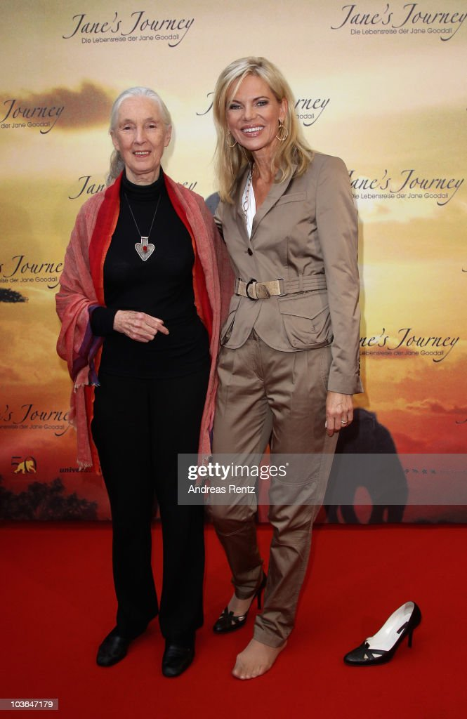 Jane Goodall (L) and Nina Ruge (R) attend Jane's Journey (Die Lebensreise der Jane Goodall) Germany premiere at Astor Film Lounge on August 26, 2010 in Berlin, Germany.