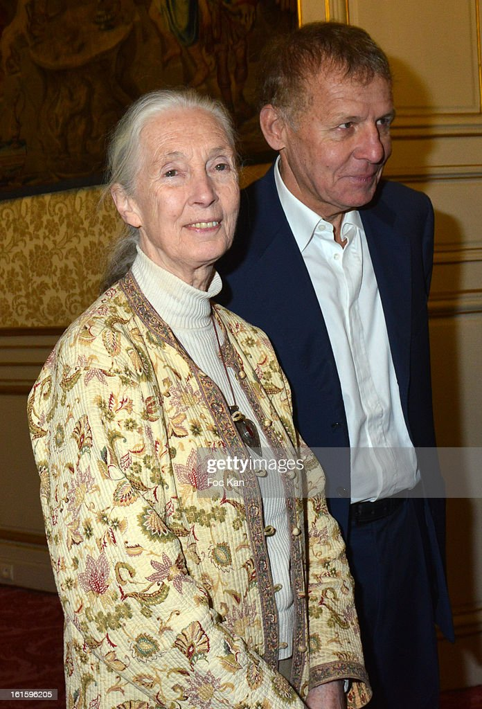 Jane Goodall and Patrick Poivre d'Arvor attend the Rallye Aicha des Gazelles du Maroc' 2013 - Press Conference at Palais du Luxembourg on February 12, 2013 in Paris, France.