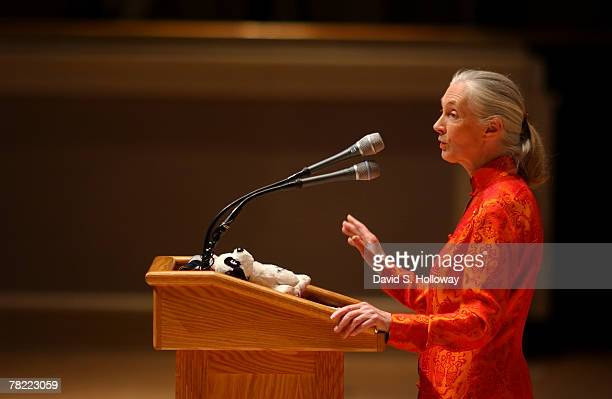 Jane Goodall gives her National Geographic lecture at DAR Constitution Hall on April 11 2002 in Washington DC Goodall's first lecture for National...