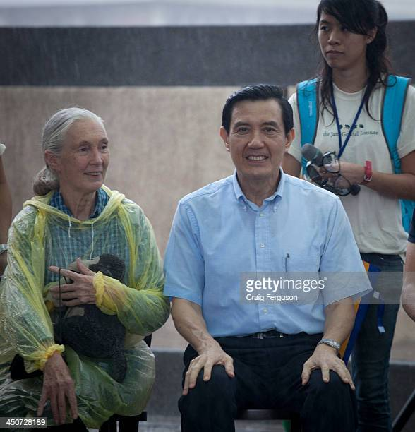 Jane Goodall Institute Roots and Shoots tree planting event with Jane Goodall and Taiwan president Ma Ying-jeou. Laomei, Shimen township..