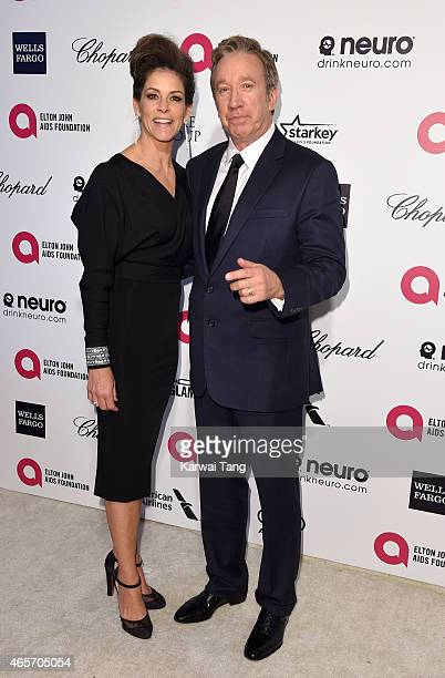 Jane Hajduk and Tim Allen attend the Elton John AIDS Foundation's 23rd annual Academy Awards Viewing Party at The City of West Hollywood Park on...