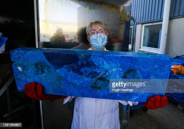 Jane Ham, Production Controller, with a treated block of recycled clinical materials including face masks at the Royal Cornwall Hospital, on 15...