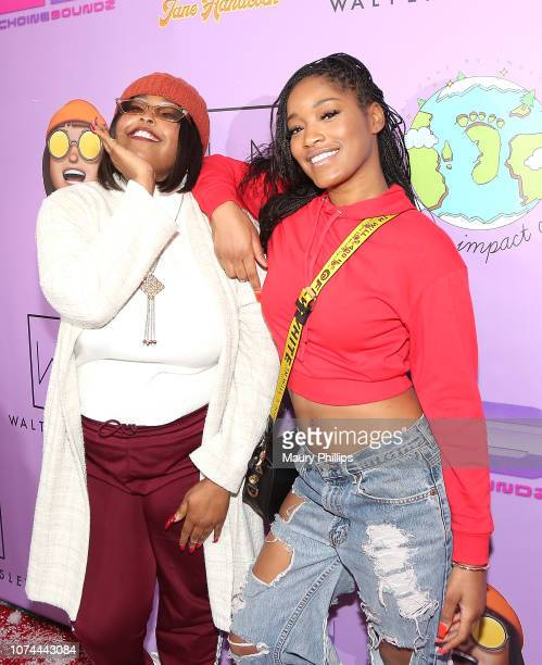 Jane Handcock and Keke Palmer attend Echoing Soundz and Walter Mosley Firm Fa La La Holiday Bash on December 19 2018 in Los Angeles California