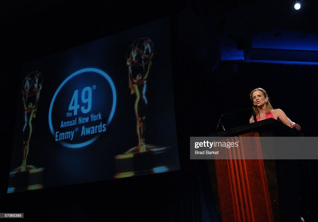 Jane Hanson speaks at the 2006 New York Emmy Awards at the the Marriott Marquis on March 12, 2006 in New York City.