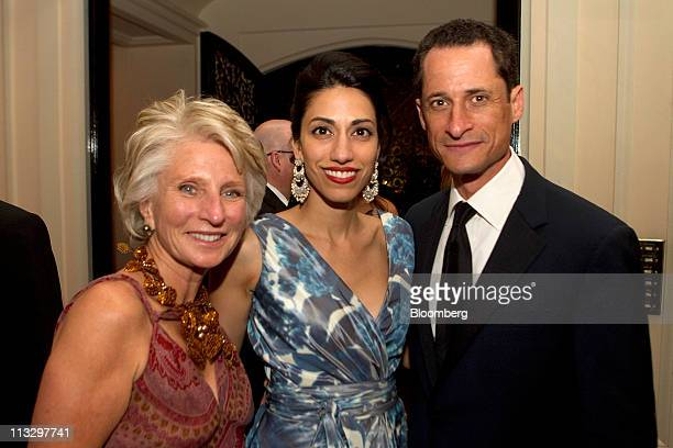Jane Harman former Californian Democratic Representative left US Representative Anthony Weiner a Democrat from New York right and Weiner's wife Huma...