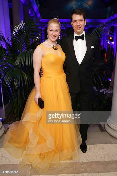 Jane Harrison and Simone Araujo attend the Young Fellows Celestial Ball presented by PAULE KA at The Frick Collection on March 13 2014 in New York...