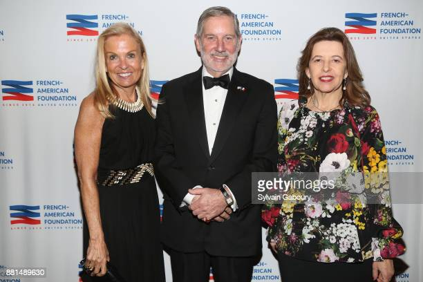 Jane Hartley Allan Chapin and Sophie Bellon attend French American Foundation Annual Gala 2017 at Gotham Hall on November 28 2017 in New York City