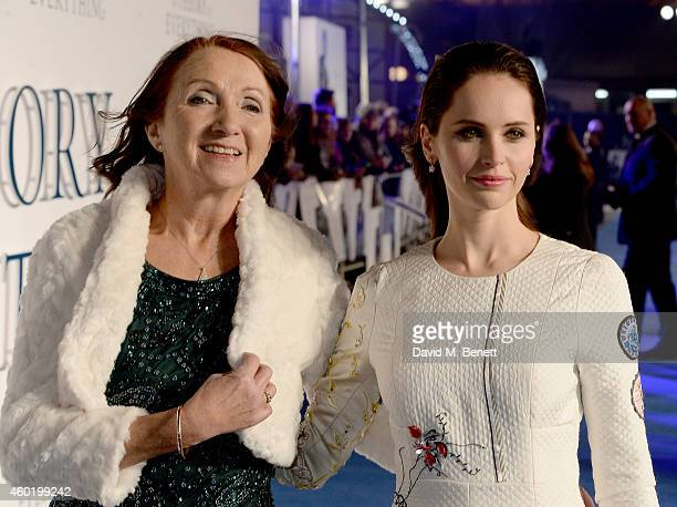 Jane Hawking and Felicity Jones attend the UK Premiere of The Theory Of Everything at Odeon Leicester Square on December 9 2014 in London England