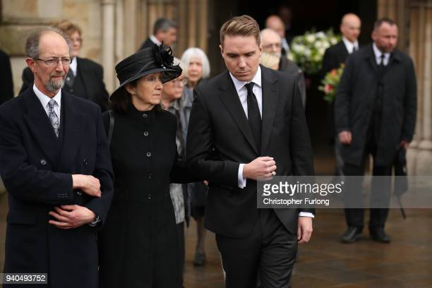 Jane Hawking and Timothy Hawking leave Great St Mary's Church following the funeral service of British physicist Stephen Hawking on March 31 2018 in...