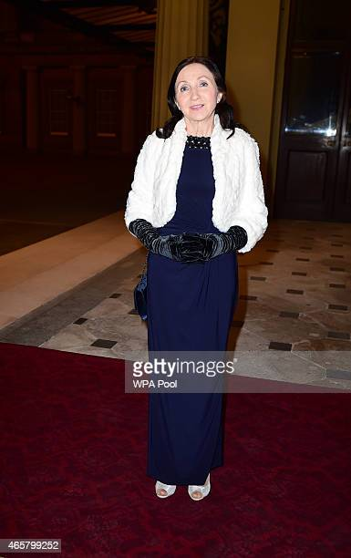 Jane Hawking attending a reception and dinner in support of Motor Neurone Disease Association at Buckingham Palace on March 10 2015 in London United...