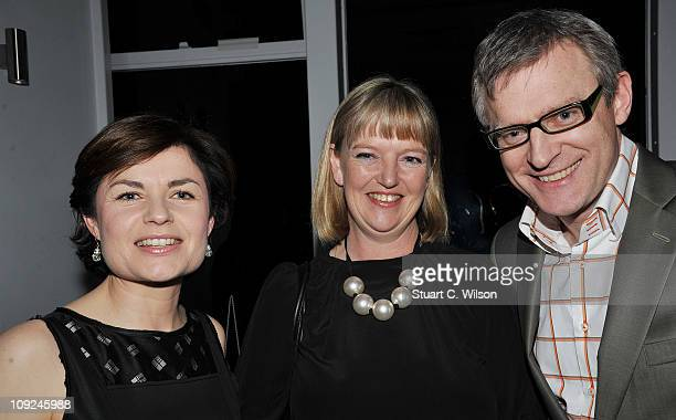 Jane Hill a guest and Jeremy Vine attend The Ultimate News Quiz charity event sponsored by the Vodafone Foundation and benefiting Action for Children...