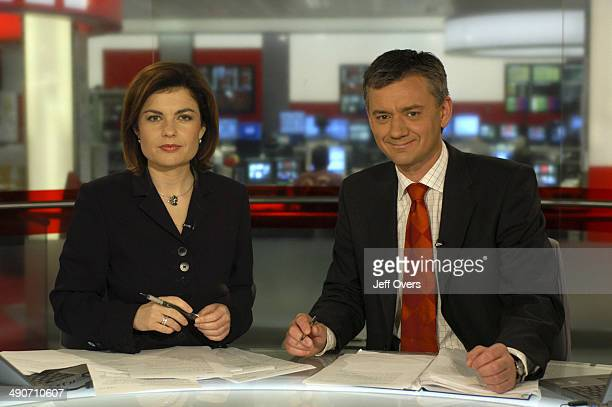 Jane Hill and Chris Eakin on the BBC News 24 studio set