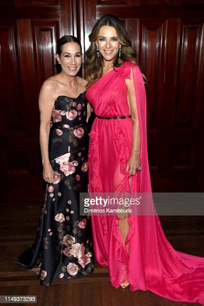 Jane Hudis and Elizabeth Hurley attend the Hot Pink Party hosted by the Breast Cancer Research Foundation at Park Avenue Armory on May 15 2019 in New...