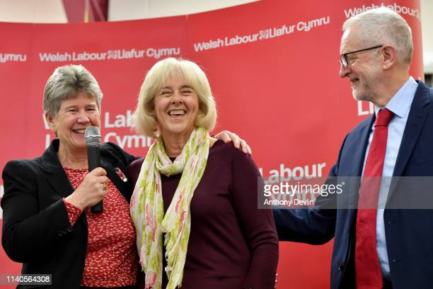 Jane Hutt lookson as Labour party leader Jeremy Corbyn congratulates Ruth Jones the new MP for Newport West on April 05 2019 in Newport Wales The...