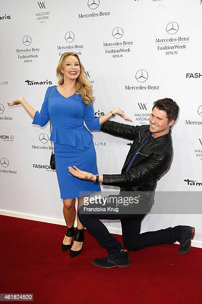 Jane Julie Kilka and Thore Schoelerman attend the Minx by Eva Lutz show during the MercedesBenz Fashion Week Berlin Autumn/Winter 2015/16 at...