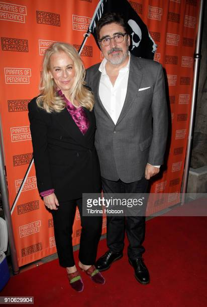 Jane Kaczmarek and Alfred Molina attend the opening night of Gilbert and Sullivan's 'Pirates Of Penzance' at Pasadena Playhouse on January 25 2018 in...