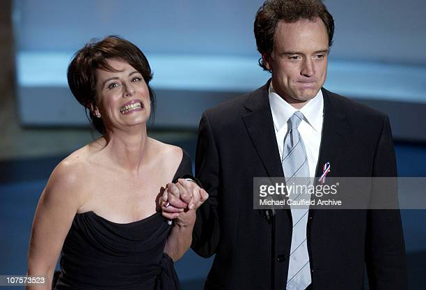 Jane Kaczmarek Bradley Whitford take the microphone during the 53rd Annual Primetime Emmy Awards