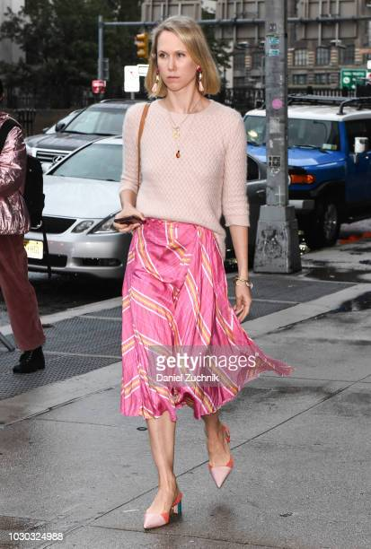 Jane Keltner de Valle is seen wearing a pink sweater and skirt outside the Prabal Gurung show during New York Fashion Week Women's S/S 2019 on...