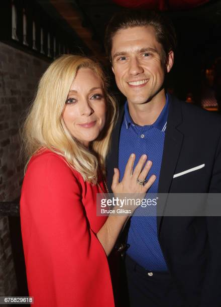Jane Krakowski and Aaron Tveit pose at The Second Stage Theater 38th Anniversary Gala honoring David Rockwell at TAO Downtown on May 1 2017 in New...