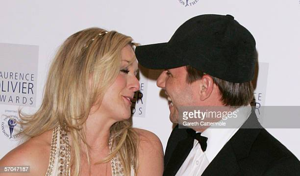Jane Krakowski and Christian Slater pose in the Awards Room at the Laurence Olivier Awards at the London Hilton on February 26 2006 in London England...
