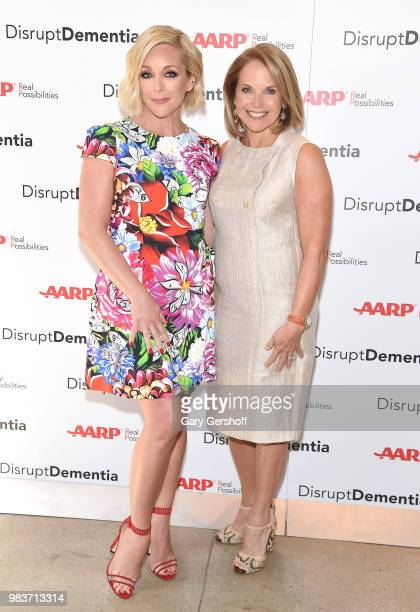 Jane Krakowski and Katie Couric attend the AARP Brain Health Benefit event during Alzheimer's Brain Awareness Month at Neuehouse on June 25 2018 in...