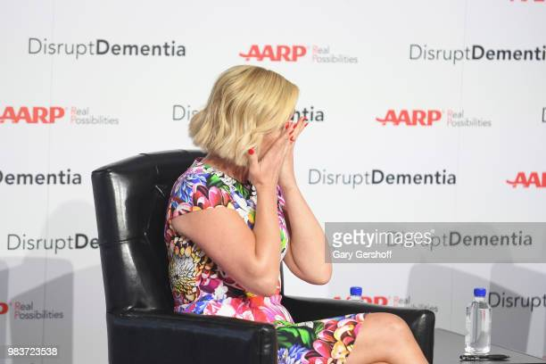 Jane Krakowski becomes emotional speaking about her father Ed Krakowski who had suffered from dementia during the AARP Brain Health Benefit event...