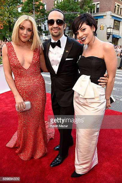 Jane Krakowski LinManuel Miranda and Krysta Rodriguez attend the 70th Annual Tony Awards at The Beacon Theatre on June 12 2016 in New York City