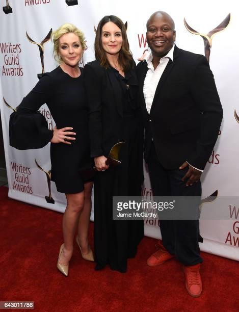 Jane Krakowski Tina Fey and Tituss Burgess pose backstage with award during 69th Writers Guild Awards New York Ceremony at Edison Ballroom on...