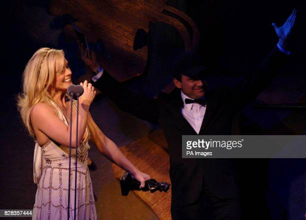 Jane Krakowski wins Best Actress in a Musical presented by Christian Slater during the Laurence Olivier Awards at the London Hilton on Park Lane...