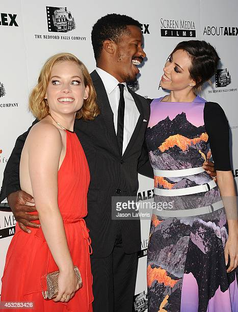 Jane Levy Nate Parker and Aubrey Plaza attend the premiere of 'About Alex' at ArcLight Hollywood on August 6 2014 in Hollywood California