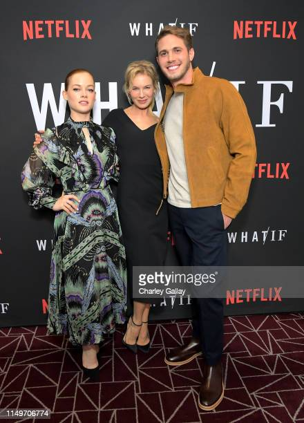 Jane Levy Renée Zellweger and Blake Jenner attend Netflix's 'WHAT / IF' Special Screening at The London West Hollywood on May 16 2019 in West...