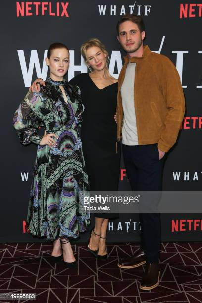 Jane Levy Renée Zellweger and Blake Jenner attend the premiere of Netflix's What/If at The London on May 16 2019 in West Hollywood California