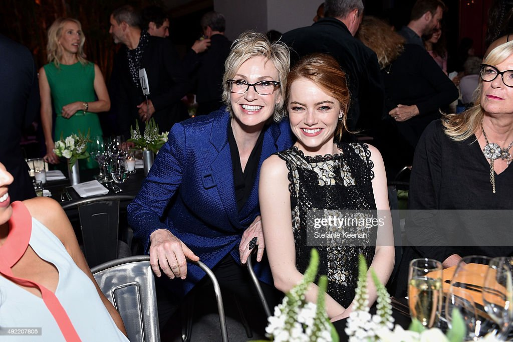 Jane Lynch and Emma Stone, wearing Bottega Veneta, attend Hammer Museum's 'Gala in the Garden' Sponsored by Bottega Veneta at Hammer Museum on October 10, 2015 in Westwood, California.