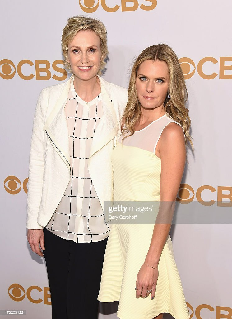 Jane Lynch (L) and Maggie Lawson attend the 2015 CBS Upfront at The Tent at Lincoln Center on May 13, 2015 in New York City.