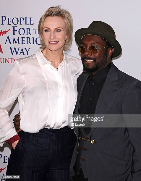 Jane Lynch and Will.I.am attend the 30th anniversary of People For the American Way Foundation at the Beverly Wilshire Four Seasons Hotel on December...