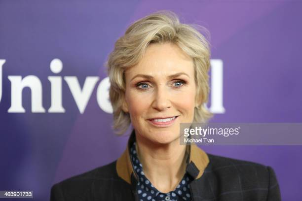 Jane Lynch arrives at the NBC/Universal 2014 TCA Winter press tour held at The Langham Huntington Hotel and Spa on January 19 2014 in Pasadena...