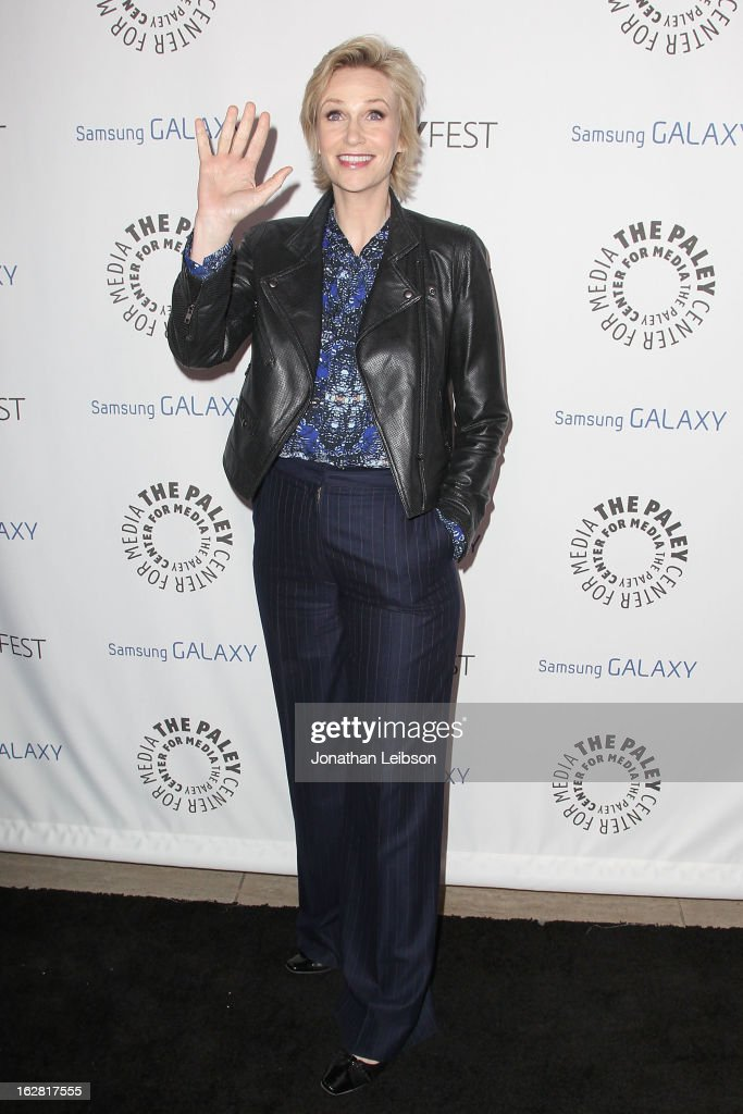 Jane Lynch arrives to The Paley Center Honors Ryan Murphy With Inaugural PaleyFest Icon Award at The Paley Center for Media on February 27, 2013 in Beverly Hills, California.