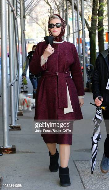 "Jane Lynch is seen on the set of ""The Marvelous Mrs. Maisel"" on April 16, 2021 in New York City."