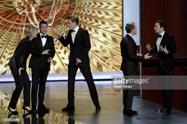 Jane Lynch, Jimmy Kimmel, Conan O'Brien, Jimmy Fallon and host Neil Patrick Harris onstage during the 65th Annual Primetime Emmy Awards held at Nokia...