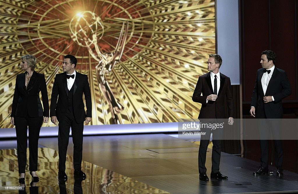 Jane Lynch, Jimmy Kimmel, Jimmy Fallon and host Neil Patrick Harris onstage during the 65th Annual Primetime Emmy Awards held at Nokia Theatre L.A. Live on September 22, 2013 in Los Angeles, California.