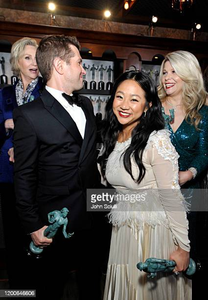 Jane Lynch Joel Johnstone Stephanie Hsu and Matilda Szydagis Winners of Outstanding Performance by an Ensemble in a Comedy Series for 'The Marvelous...