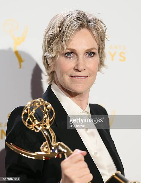 Jane Lynch poses in the press room during the 2015 Creative Arts Emmy Awards at Microsoft Theater on September 12 2015 in Los Angeles California
