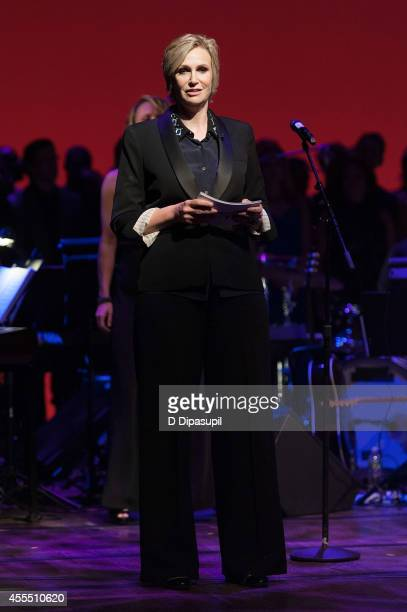 Jane Lynch speaks on stage during Uprising Of Love A Benefit Concert For Global Equality at the Gershwin Theatre on September 15 2014 in New York City
