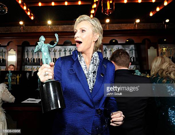Jane Lynch Winner of Outstanding Performance by an Ensemble in a Comedy Series for 'The Marvelous Mrs Maisel' poses in the trophy room during the...