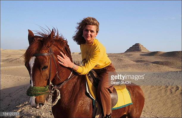 Jane Manson and Allain Bougrain Dubourg in Egypt on February 26 1992